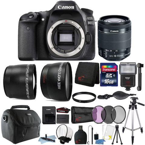 Canon EOS 80D 24.2MP DSLR Camera with 18-55mm IS STM Lens and Accessory Bundle