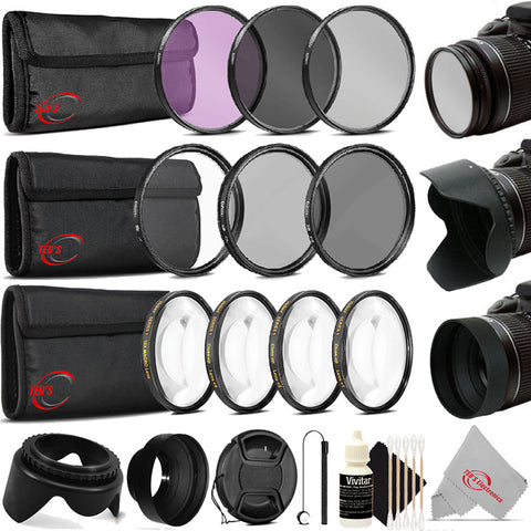 58mm Complete Filter Set Accessory Kit for Canon Rebel T7 T7i SL3 SL2 T100 2000D