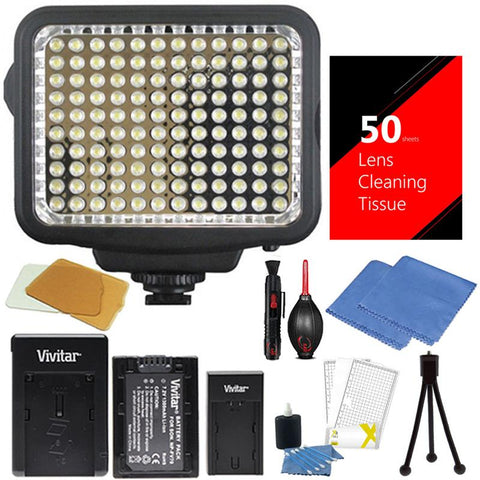 Vivitar LED Light with Accessory Bundle for Cameras and Camcorders
