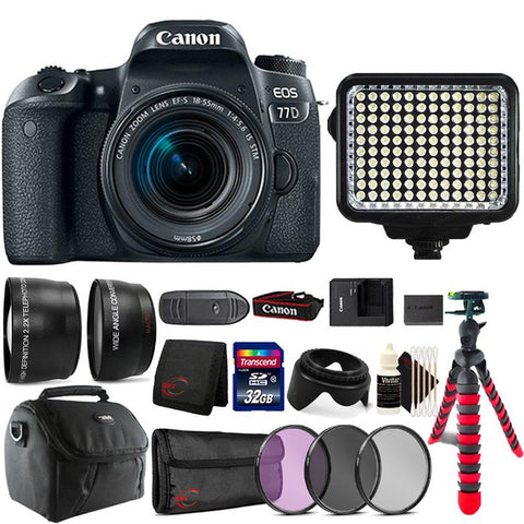 Canon EOS 77D DSLR Camera with 18-55mm IS STM Lens , 120 LED Video Light and Accessory Kit