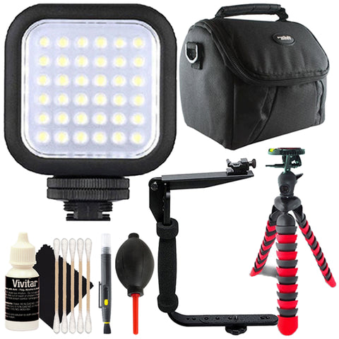 Digital Compact LED Video Light with Accessory Bundle
