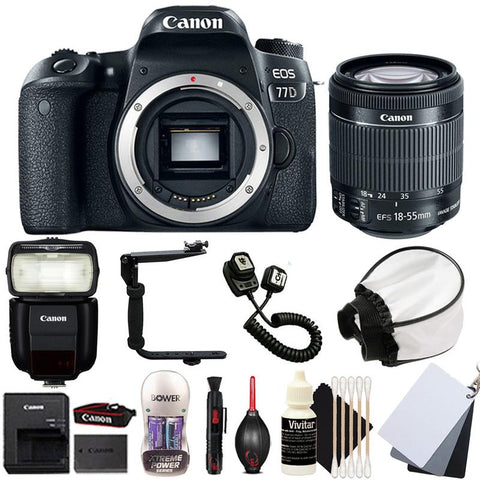 Canon EOS 77D 24.2MP DSLR Camera with 18-55mm IS STM Lens , 430EX III-RT Speedlite Flash and Accessory Kit