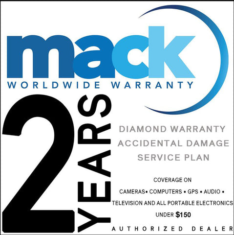 Mack 2yr Worldwide Diamond Protection Plan Warranty for Portable Electronics like Cameras, GPS, Lenses Under $150