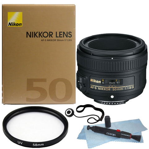 Nikon AF-S NIKKOR 50mm f/1.8G Lens + 58mm UV Filter +Accessory Kit
