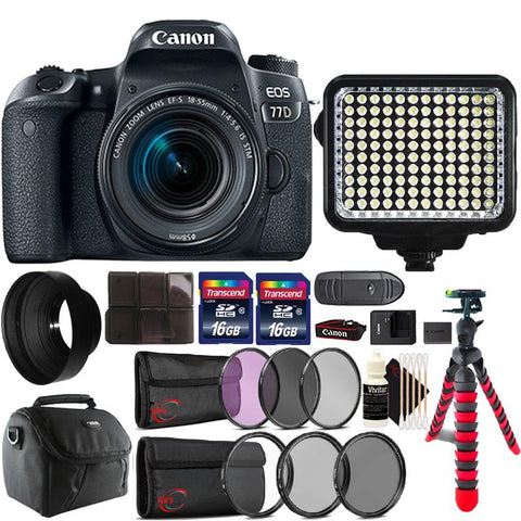 Canon EOS 77D DSLR Camera with 18-55mm IS STM Lens , 120 LED Light and Accessory Kit