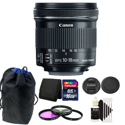 Canon EF-S 10-18mm f/4.5-5.6 IS STM Lens 16GB Accessory Kit for DSLR Camera