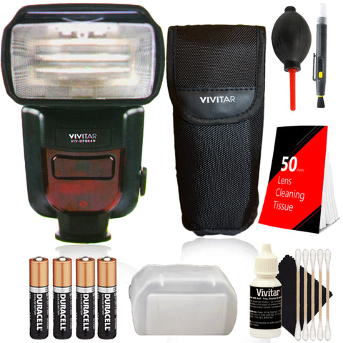 Vivitar DF-864 Speedlight Flash with Accessory Kit for Nikon D5600, D7100 and D7200