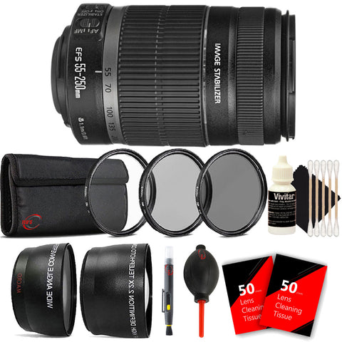 Canon EF-S 55-250mm f/4-5.6 IS II Lens with Top Accessory Bundle for Canon T5 , T5i , T6 , T6i and T7i