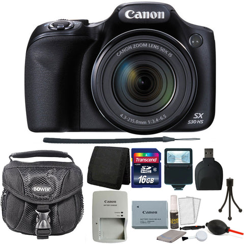 Canon PowerShot SX530 HS 16MP Wi-Fi Digital Camera (Black) + 16GB Accessory Kit