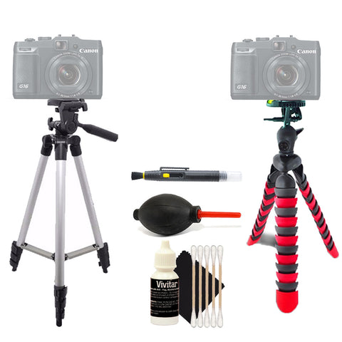 Tall Tripod and Flexible Tripod with Accessory Kit For Sony Cameras