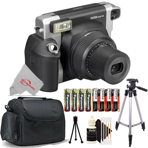 Fujifilm Instax Wide 300 Instant Film Camera (Black) with 4 Extra Batteries Accessory Kit