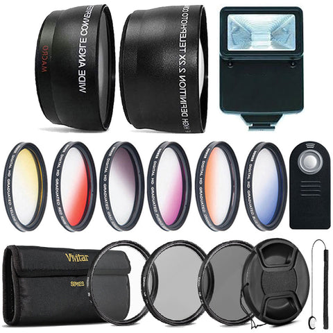 52mm Color Filter Kit with Accessory Kit for Nikon D3200, D3300 D5200, D5300 and D5500