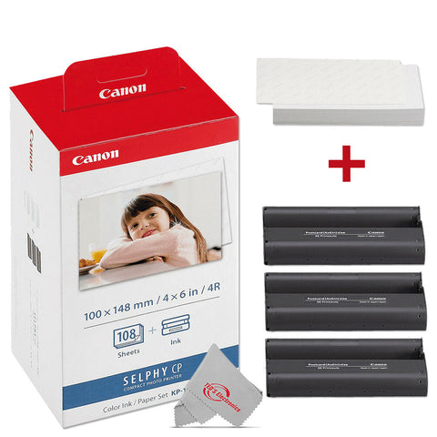 Canon Selphy KP-108IN Color Ink 4x6 and Paper Set 3115B001 for SELPHY Compact Printer CP1300 CP1200 CP770