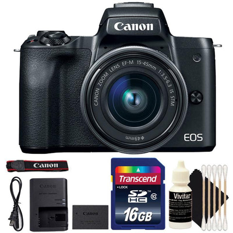 Canon EOS M50 Mirrorless Digital Camera with 15-45mm EF-M IS STM Lens, 16GB Memory Card and Camera Cleaning Kit - Black