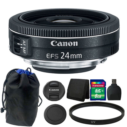 Canon EF-S 24mm f/2.8 STM Lens 8GB Accessory Kit for Canon Digital SLR Camera