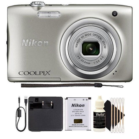 Nikon Coolpix A100 20.1MP Compact Digital Camera Silver with Accessory Bunde