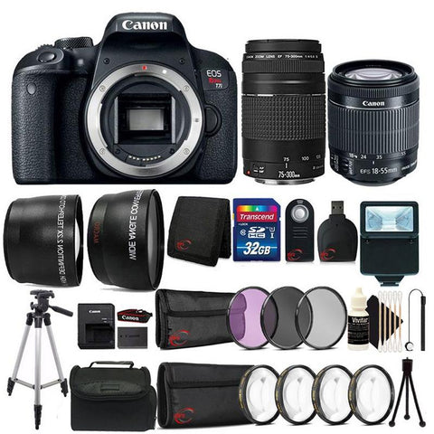Canon EOS Rebel T7i 24.2MP Built-In WIFI DSLR Camera with EF-S 18-55 IS STM + EF 75-300 III All You Need Bundle
