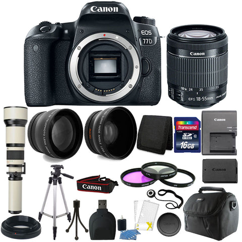 Canon EOS 77D 24.2MP DSLR Camera with 18-55mm IS STM Lens , 650-1300mm Zoom Lens and Accessory Bundle