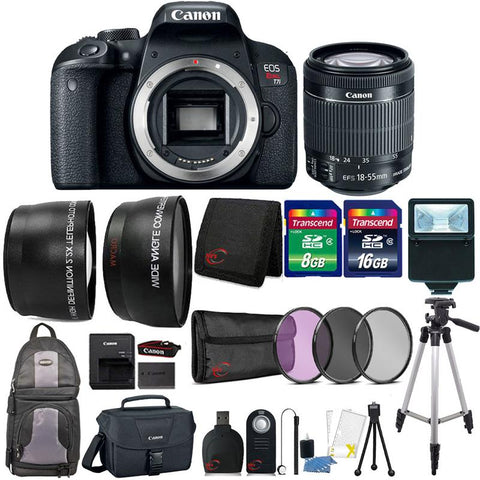 Canon EOS Rebel T7i 24.2MP DSLR Camera with 18-55mm Lens , Canon 100ES Case and 24GB Ultimate Accessory Bundle