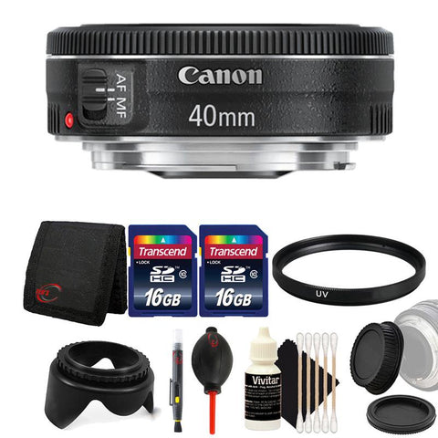 Canon EF 40mm f/2.8 STM Lens with Accessory Kit For Canon DSLR Cameras