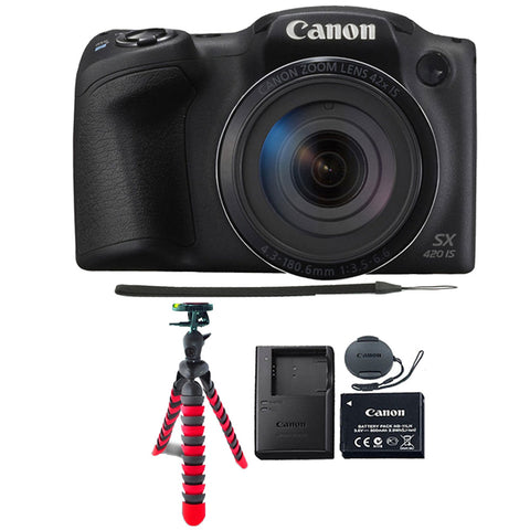 Canon PowerShot SX420 IS 20MP Digital Camera (Black) with Flexible Tripod