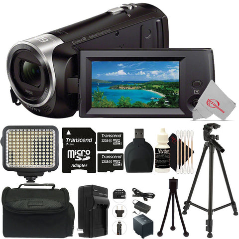 Sony HDR-CX405 HD Handycam Camcorder with Two 32GB MicroSD Top Accessory Kit