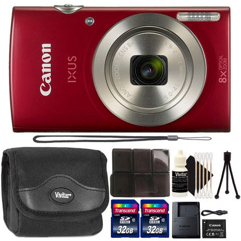 Canon IXUS 185 / ELPH 180 20MP Digital Camera Red with Camera Case