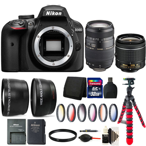 Nikon D3400 24MP DSLR Camera with 18-55mm Lens, 70-300mm Lens and 32GB Kit