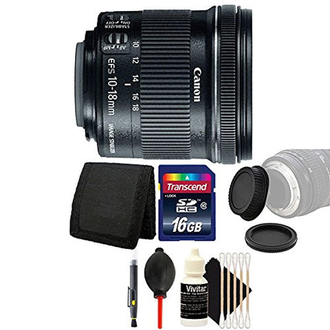 Canon EF-S 10-18mm f/4.5-5.6 IS STM Lens with 16GB Accessory Kit For Canon DSLR Cameras