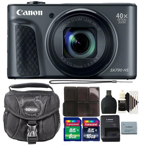 Canon Powershot SX730 HS Digital Camera (Black) with 24GB Accessory Bundle