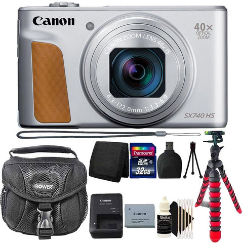 Canon PowerShot SX740 20.3MP 20.3MP HS Digital Camera Silver with 32GB Top Accessory Kit