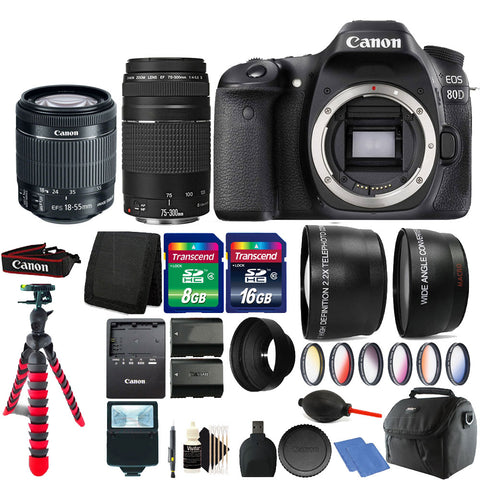 Canon EOS 80D 24.2MP Digital SLR Camera with 18-55mm Lens , 75-300mm Lens and Accessories