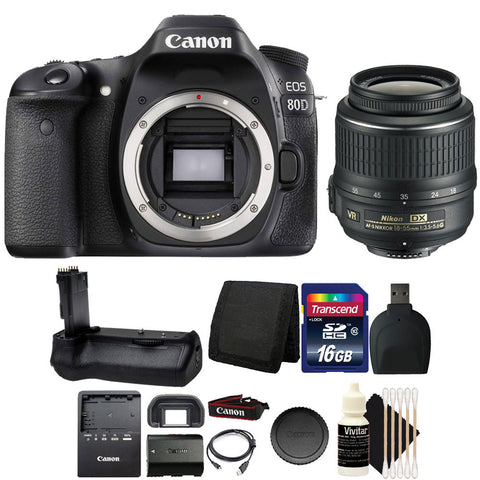 Canon EOS 80D 24.2MP DSLR Camera with 18-55mm Lens and 16GB Accessory Bundle