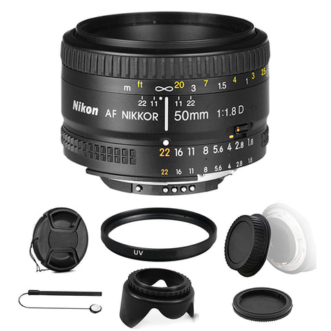 Nikon AF NIKKOR 50mm f/1.8D Lens for Nikon DSLR Cameras and UltimateAccessory Bundle