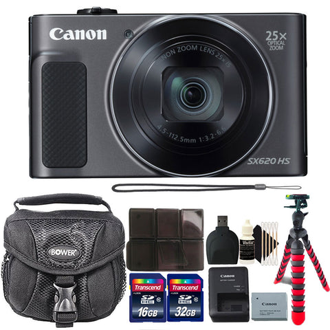 Canon PowerShot SX620 HS 20.2MP Digital Camera (Black) and Accessory Bundle