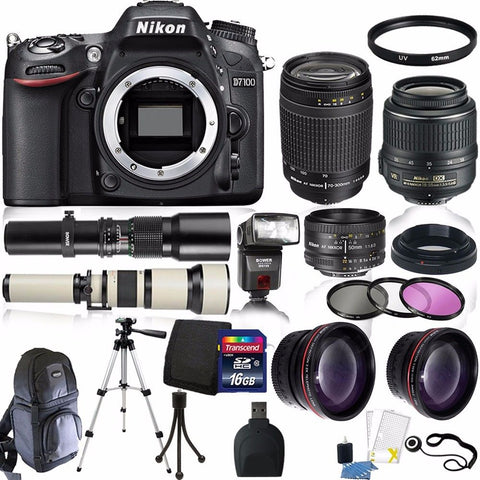 Nikon D7100 Digital SLR Camera with 18-55mm Lens , 70-300mm Lens , 650-1300mm Lens and Top Value Kit