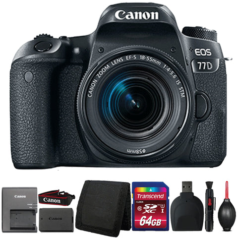 Canon EOS 77D DSLR Camera with 18-55mm IS STM Lens and Accessory Bundle