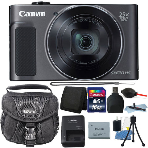 Canon PowerShot SX620 HS 20.2MP Compact Digital Camera Black with Accessories
