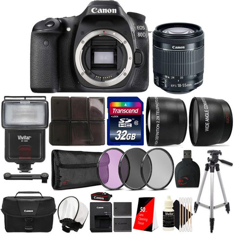 Canon EOS 80D 24.2MP Built-In WIFI DSLR Camera with 18-55mm Lens , Canon Camera Case and Accessories