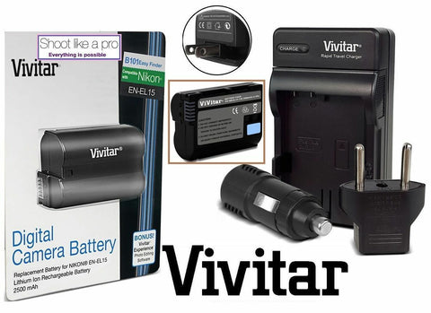 EN-EL15 Lithium Battery + Ultra Rapid Batter charger with 3 Year Warranty