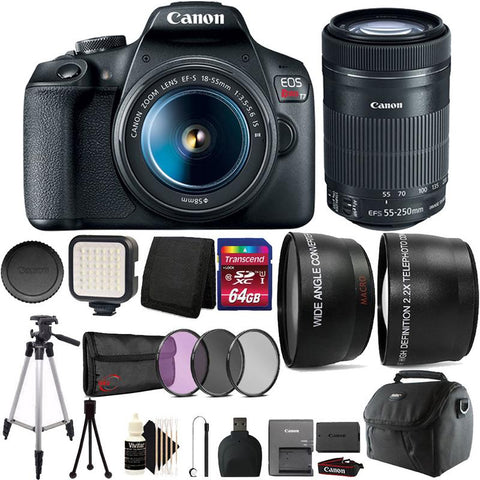 Canon EOS Rebel T7 DSLR Camera with EF-S 18-55mm and EF-S 55-250mm Lenses + Bundle