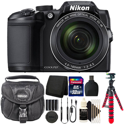 Nikon Coolpix B500 16MP 40x Optical Zoom Digital Camera Black with Accessories