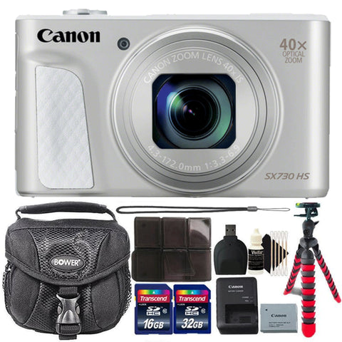 Canon Powershot SX730 HS 20.3MP Digital Camera Silver with 64GB Memory Card
