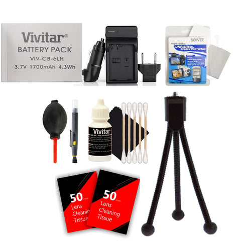 Vivitar NB-6L / NB-6LH Battery with Charger and Accessory Kit for select powershot cameras