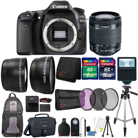 Canon EOS 80D 24.2MP Built-In WIFI DSLR Camera with 18-55mm Lens , Canon 100ES Case and 24GB Ultimate Accessory Kit