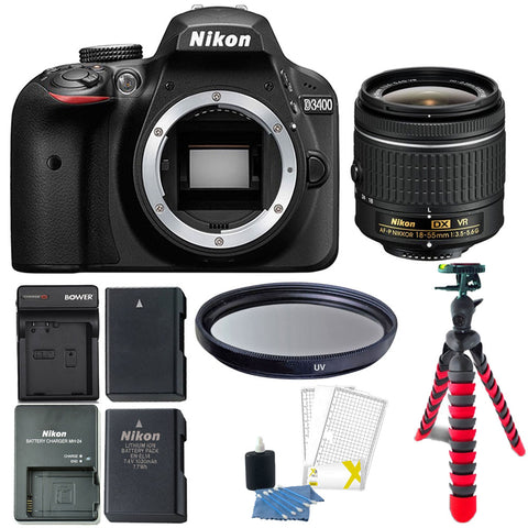 Nikon D3400 Digital SLR Camera with 18-55mm AF-P DX f/3.5-5.6G VR Lens and Accessory Kit