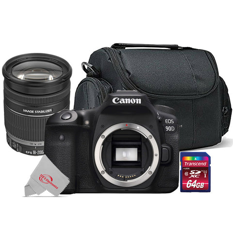 Canon 90D 32.5MP Built-in Wi-Fi DSLR Camera + Canon EF-S 18-200mm f/3.5-5.6 IS Lens Kit
