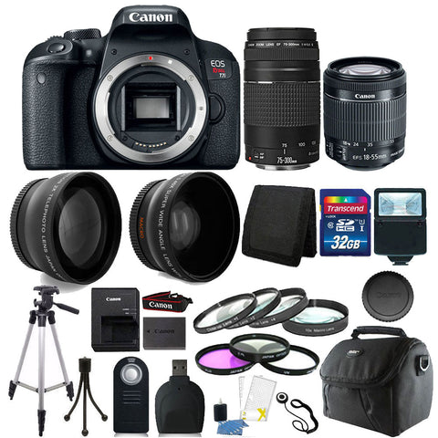 Canon EOS Rebel T7i 24.2MP Digital SLR Camera with 18-55mm IS STM Lens , 75-300mm III Lens and Accessory Bundle