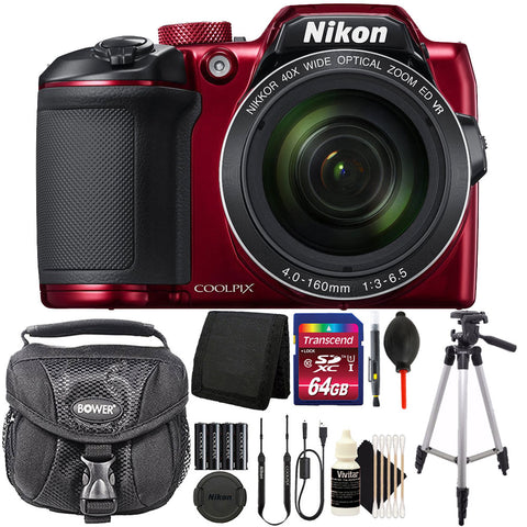 Nikon COOLPIX B500 16MP Digital Camera (Red) with Accessories