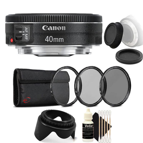 Canon EF 40mm f/2.8 STM Lens with Accessory Bundle For Canon EOS Rebel T5 , T5i , T6 , T6i and T7i